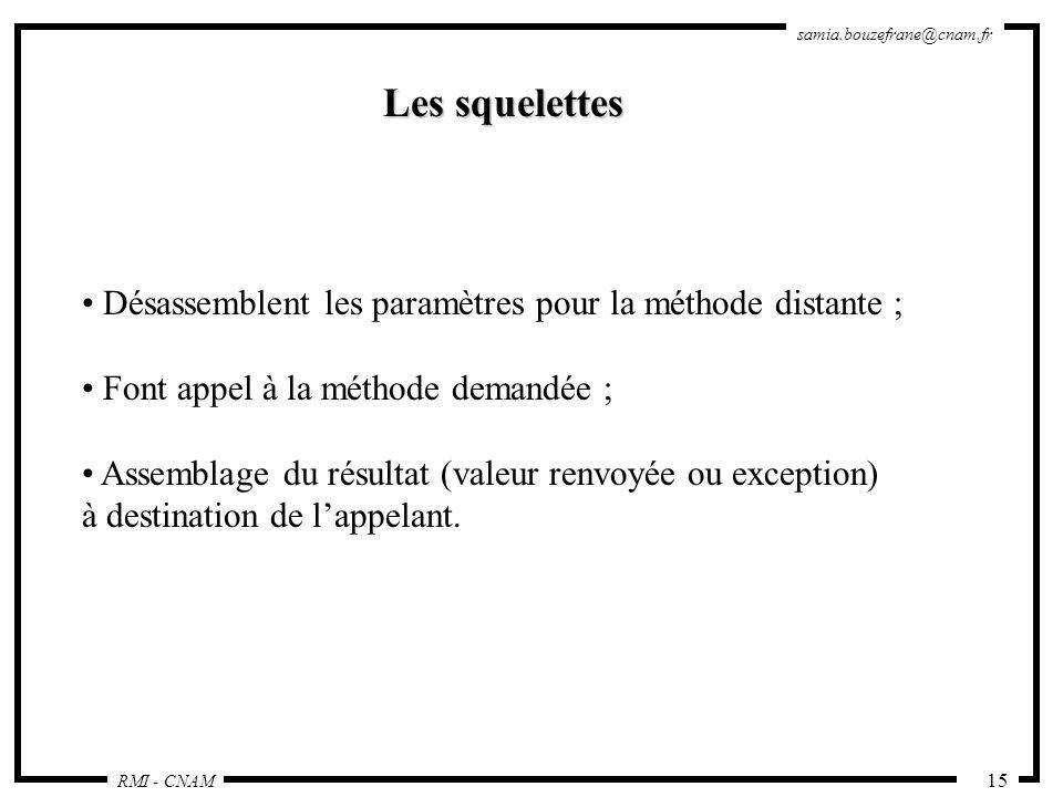 RMI - CNAM samia.bouzefrane@cnam.fr 15 Les squelettes Désassemblent les paramètres pour la méthode distante ; Font appel à la méthode demandée ; Assem