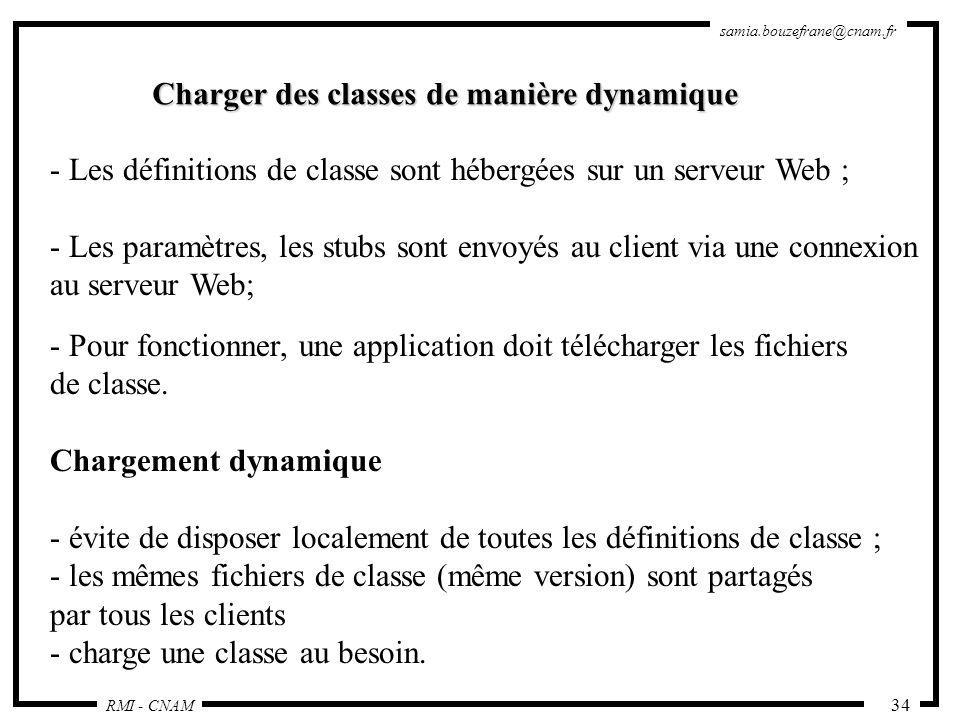 RMI - CNAM samia.bouzefrane@cnam.fr 34 Charger des classes de manière dynamique - Les définitions de classe sont hébergées sur un serveur Web ; - Les
