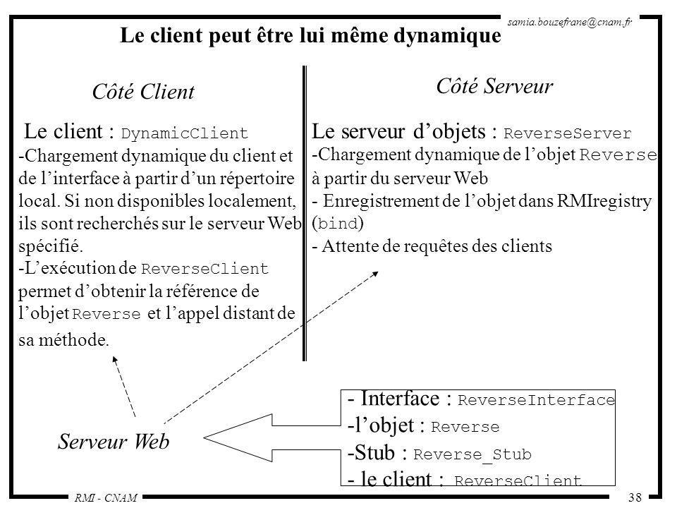 RMI - CNAM samia.bouzefrane@cnam.fr 38 Côté Client Côté Serveur Le client : DynamicClient -Chargement dynamique du client et de linterface à partir du