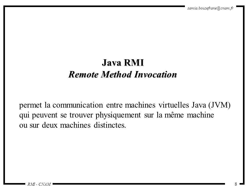RMI - CNAM samia.bouzefrane@cnam.fr 29 Le Client Installe un gestionnaire de sécurité pour contrôler les stubs chargés dynamiquement : System.setSecurityManager(new RMISecurityManager()); Obtient une référence dobjet distribué : ReverseInterface ri = (ReverseInterface) Naming.lookup ( rmi://sinus.cnam.fr:1099/MyReverse ); Exécute une méthode de lobjet : String result = ri.reverseString ( Terre );