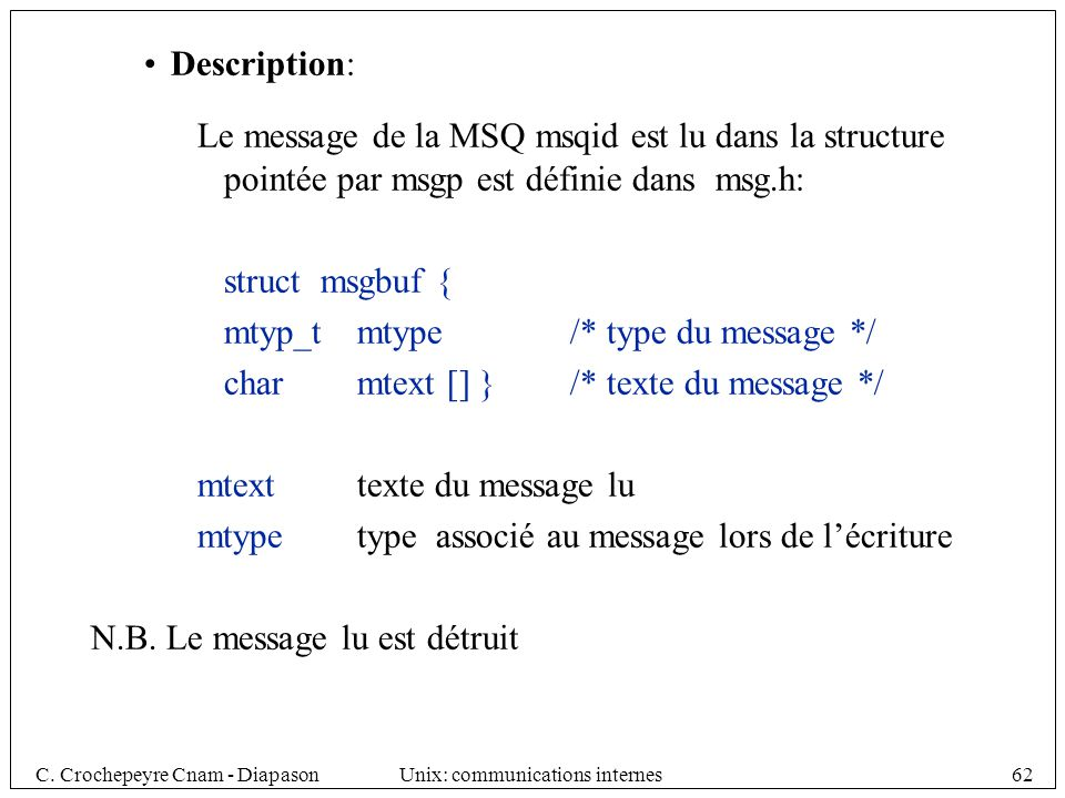 C. Crochepeyre Cnam - DiapasonUnix: communications internes62 Description: Le message de la MSQ msqid est lu dans la structure pointée par msgp est dé