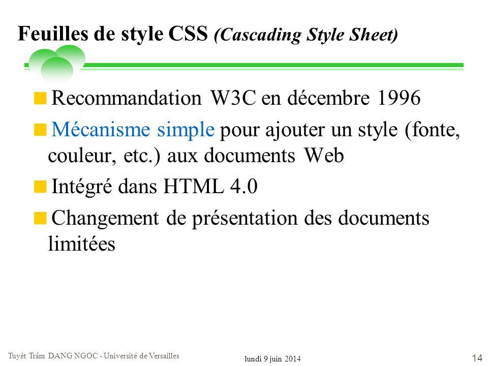 lundi 9 juin 2014 Tuyêt Trâm DANG NGOC - Université de Versailles 14 Feuilles de style CSS (Cascading Style Sheet) Recommandation W3C en décembre 1996