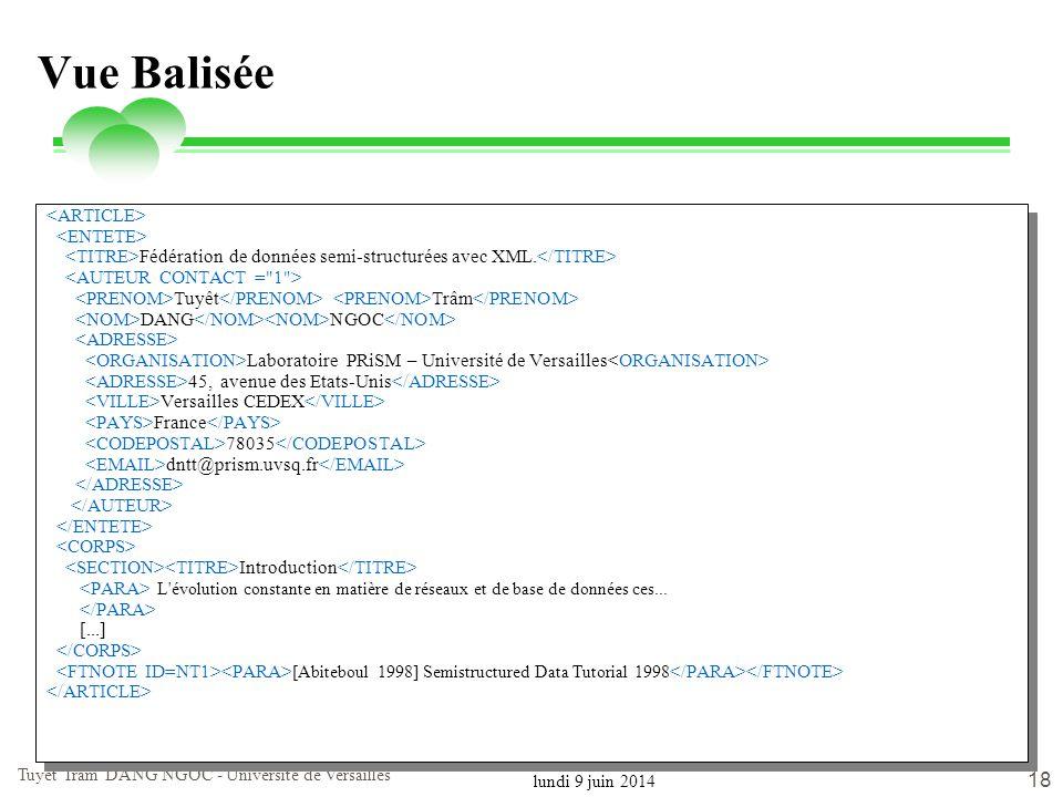 lundi 9 juin 2014 Tuyêt Trâm DANG NGOC - Université de Versailles 18 Vue Balisée Fédération de données semi-structurées avec XML. Tuyêt Trâm DANG NGOC