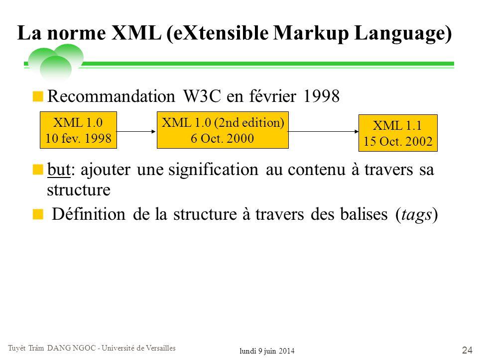 lundi 9 juin 2014 Tuyêt Trâm DANG NGOC - Université de Versailles 24 La norme XML (eXtensible Markup Language) Recommandation W3C en février 1998 but: