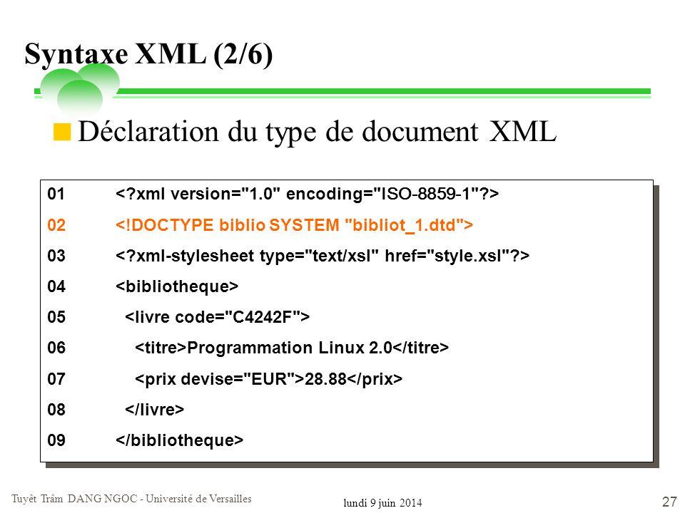 lundi 9 juin 2014 Tuyêt Trâm DANG NGOC - Université de Versailles 27 Syntaxe XML (2/6) 01 02 03 04 05 06 Programmation Linux 2.0 07 28.88 08 09 01 02
