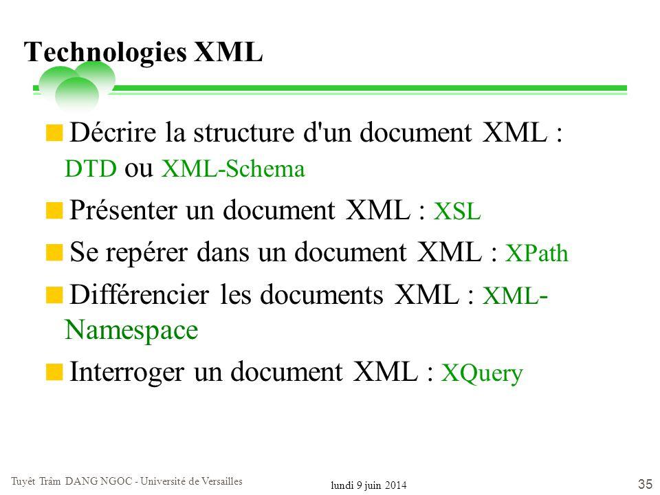 lundi 9 juin 2014 Tuyêt Trâm DANG NGOC - Université de Versailles 35 Technologies XML Décrire la structure d'un document XML : DTD ou XML-Schema Prése