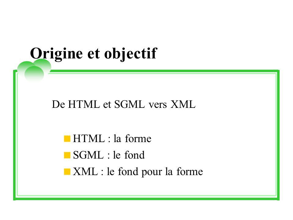 Origine et objectif De HTML et SGML vers XML HTML : la forme SGML : le fond XML : le fond pour la forme