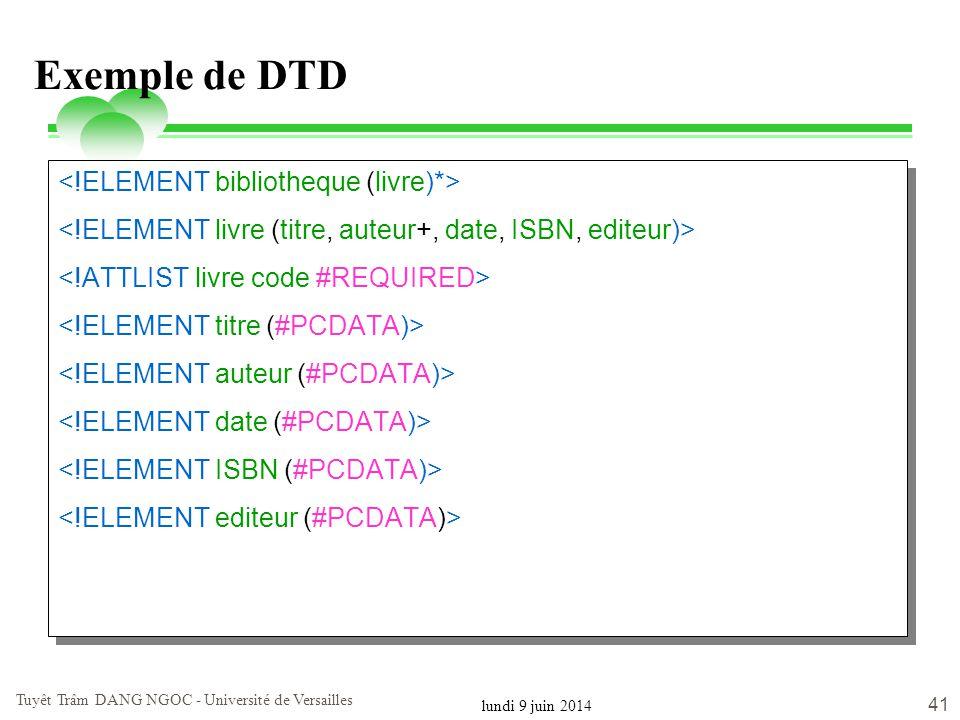 lundi 9 juin 2014 Tuyêt Trâm DANG NGOC - Université de Versailles 41 Exemple de DTD