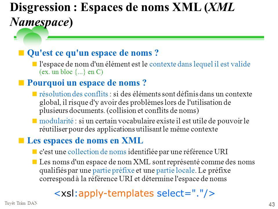 lundi 9 juin 2014 Tuyêt Trâm DANG NGOC - Université de Versailles 43 Disgression : Espaces de noms XML (XML Namespace) Qu'est ce qu'un espace de noms