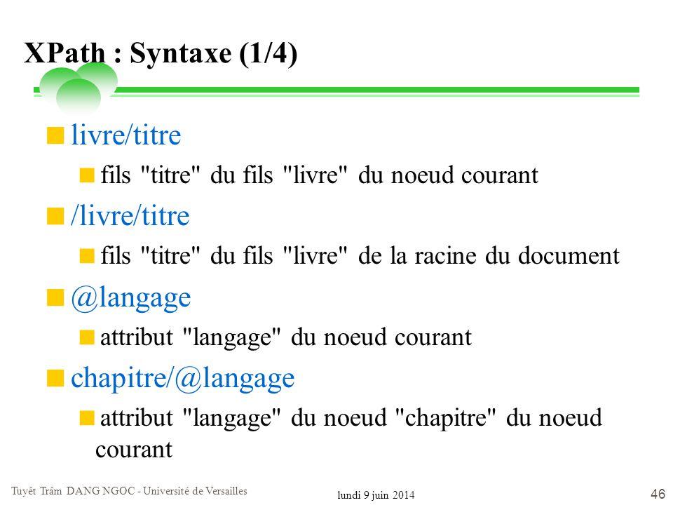 lundi 9 juin 2014 Tuyêt Trâm DANG NGOC - Université de Versailles 46 XPath : Syntaxe (1/4) livre/titre fils