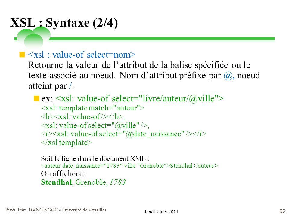 lundi 9 juin 2014 Tuyêt Trâm DANG NGOC - Université de Versailles 52 XSL : Syntaxe (2/4) Retourne la valeur de lattribut de la balise spécifiée ou le