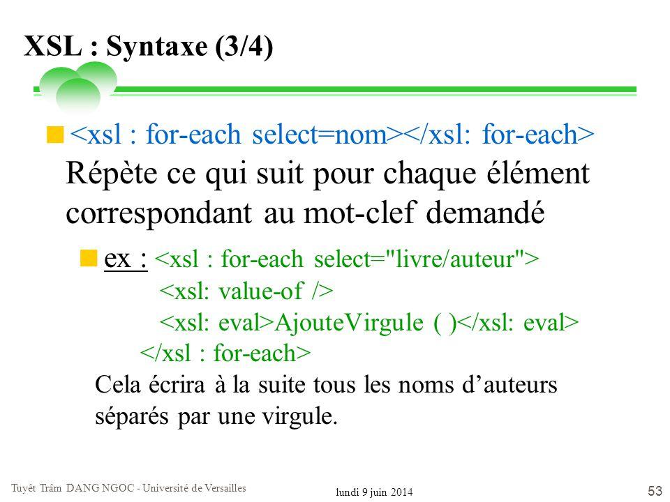 lundi 9 juin 2014 Tuyêt Trâm DANG NGOC - Université de Versailles 53 XSL : Syntaxe (3/4) Répète ce qui suit pour chaque élément correspondant au mot-c