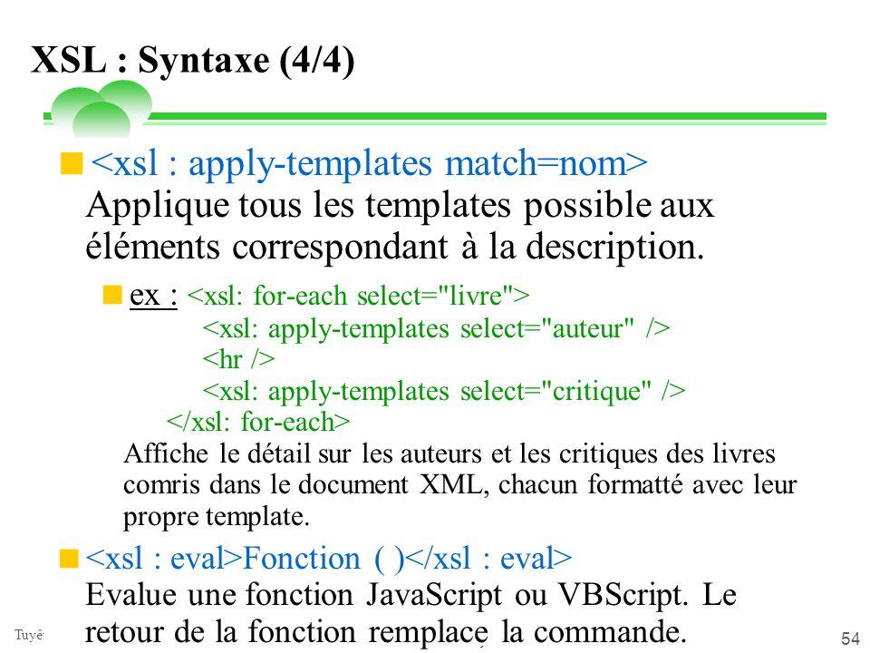 lundi 9 juin 2014 Tuyêt Trâm DANG NGOC - Université de Versailles 54 XSL : Syntaxe (4/4) Applique tous les templates possible aux éléments corresponda