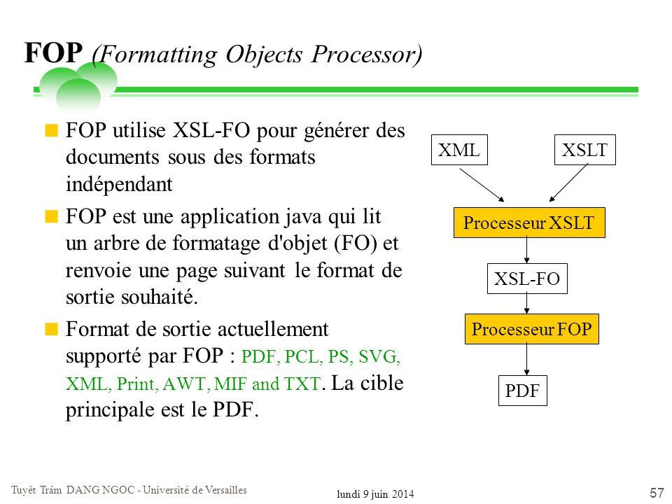 lundi 9 juin 2014 Tuyêt Trâm DANG NGOC - Université de Versailles 57 FOP (Formatting Objects Processor) FOP utilise XSL-FO pour générer des documents