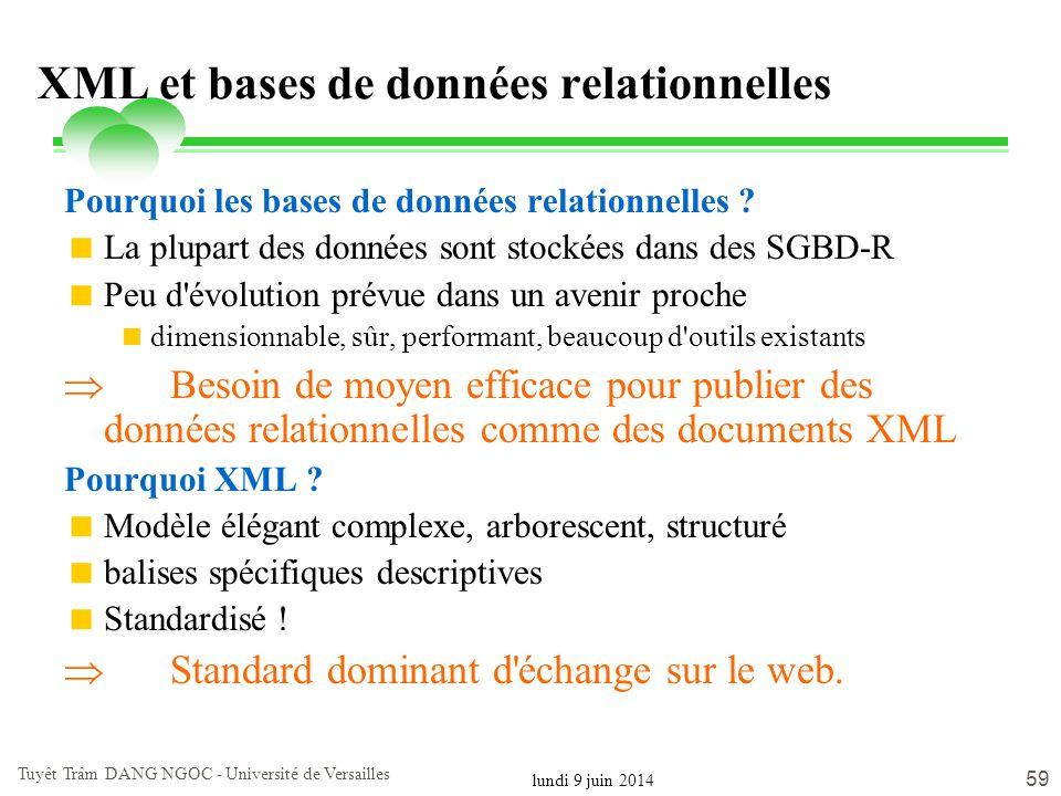 lundi 9 juin 2014 Tuyêt Trâm DANG NGOC - Université de Versailles 59 XML et bases de données relationnelles Pourquoi les bases de données relationnell