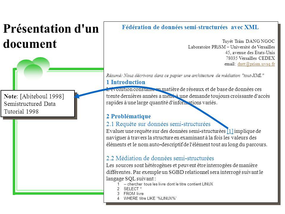 Fédération de données semi-structurées avec XML Tuyêt Trâm DANG NGOC Laboratoire PRiSM – Université de Versailles 45, avenue des Etats-Unis 78035 Versailles CEDEX email: dntt@prism.uvsq.frdntt@prism.uvsq.fr Résumé: Nous décrivons dans ce papier une architecture de médiation tout-XML 1 Introduction L évolution constante en matière de réseaux et de base de données ces trente dernières années a mené à une demande toujours croissante d accès rapides à une large quantité d informations variés.