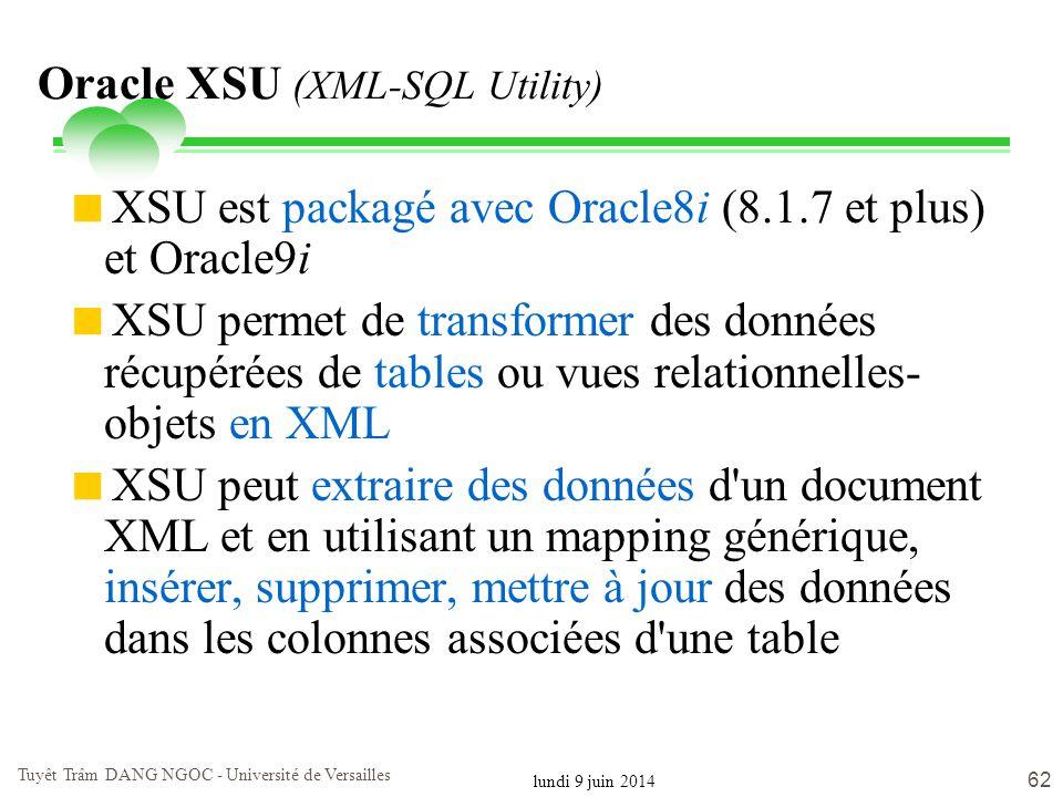 lundi 9 juin 2014 Tuyêt Trâm DANG NGOC - Université de Versailles 62 Oracle XSU (XML-SQL Utility) XSU est packagé avec Oracle8i (8.1.7 et plus) et Ora