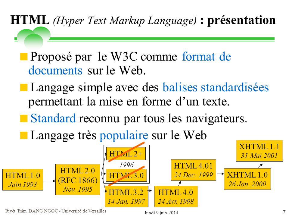 lundi 9 juin 2014 Tuyêt Trâm DANG NGOC - Université de Versailles 7 HTML (Hyper Text Markup Language) : présentation Proposé par le W3C comme format d