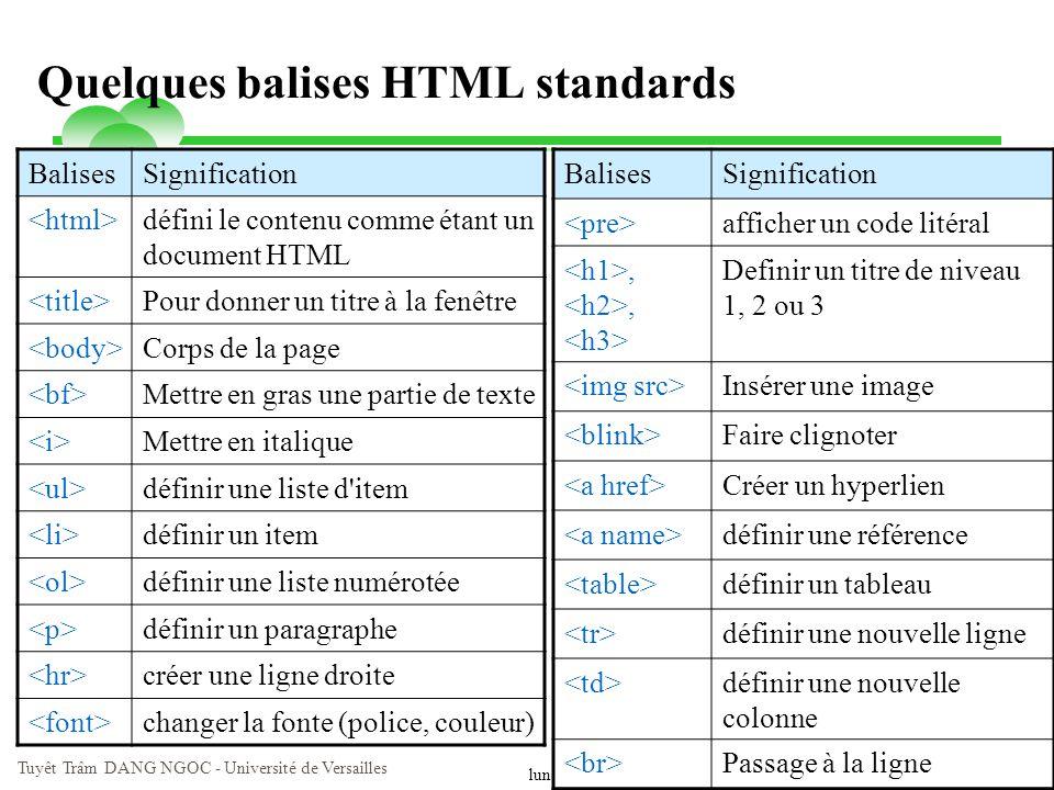 lundi 9 juin 2014 Tuyêt Trâm DANG NGOC - Université de Versailles 8 Quelques balises HTML standards BalisesSignification défini le contenu comme étant