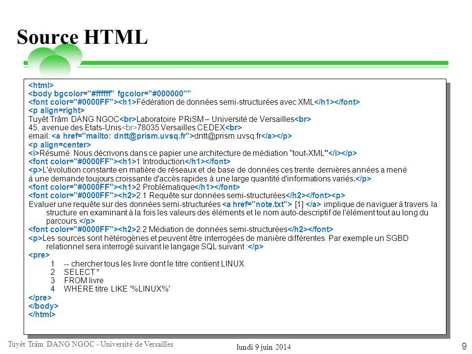 lundi 9 juin 2014 Tuyêt Trâm DANG NGOC - Université de Versailles 10 Limitation de HTML (1) HTML est conçu pour la présentation d information sous forme de pages web HTML contient un nombre limité de balises défini La conception de HTML n est pas appropriée pour les données les balises ne renseignent pas sur les valeurs incluses entre les balises Les balises ne sont pas extensibles
