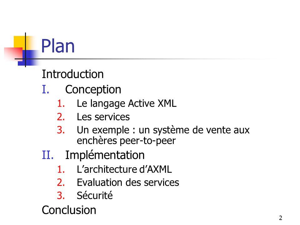 2 Plan Introduction I.Conception 1.Le langage Active XML 2.Les services 3.Un exemple : un système de vente aux enchères peer-to-peer II.Implémentation 1.Larchitecture dAXML 2.Evaluation des services 3.Sécurité Conclusion