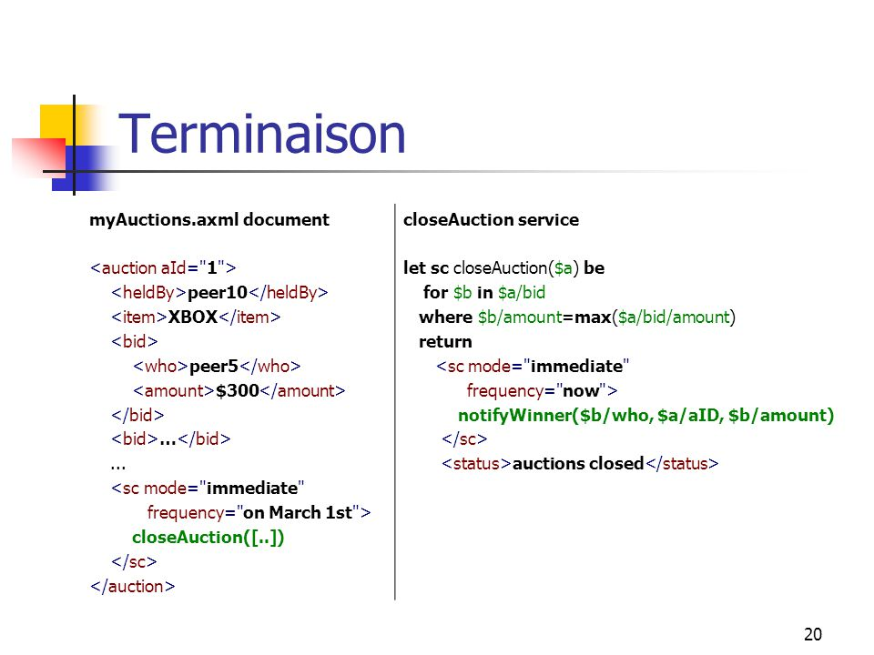 20 Terminaison myAuctions.axml document peer10 XBOX peer5 $300 …... <sc mode=