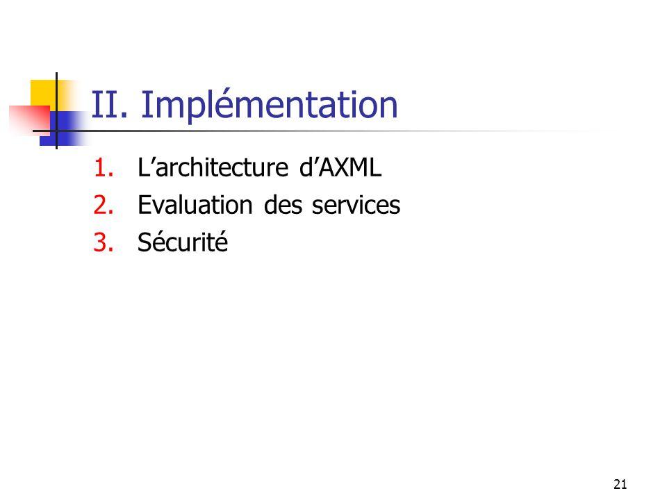 21 II. Implémentation 1.Larchitecture dAXML 2.Evaluation des services 3.Sécurité