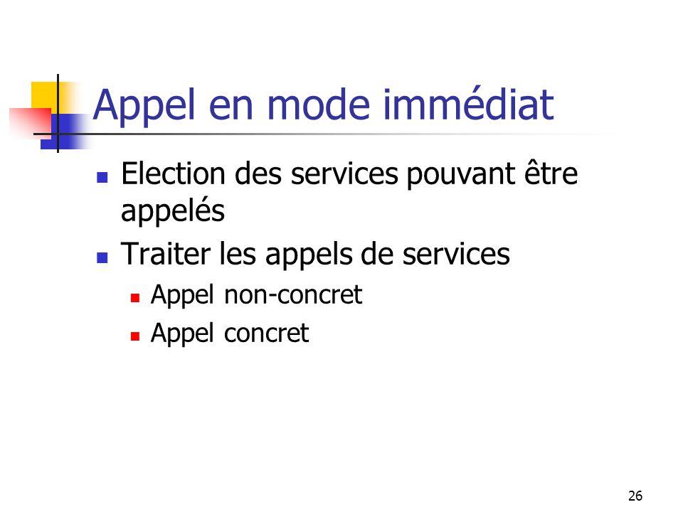 26 Appel en mode immédiat Election des services pouvant être appelés Traiter les appels de services Appel non-concret Appel concret