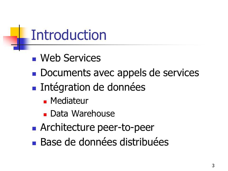 3 Introduction Web Services Documents avec appels de services Intégration de données Mediateur Data Warehouse Architecture peer-to-peer Base de donnée