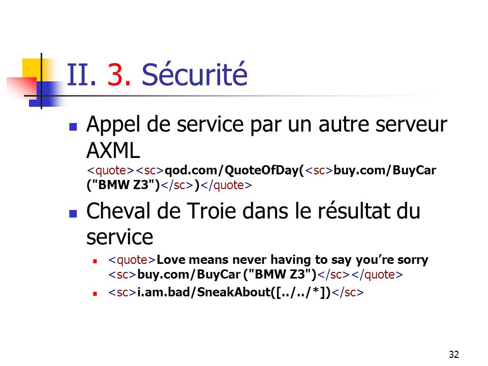 32 II. 3. Sécurité Appel de service par un autre serveur AXML qod.com/QuoteOfDay( buy.com/BuyCar (