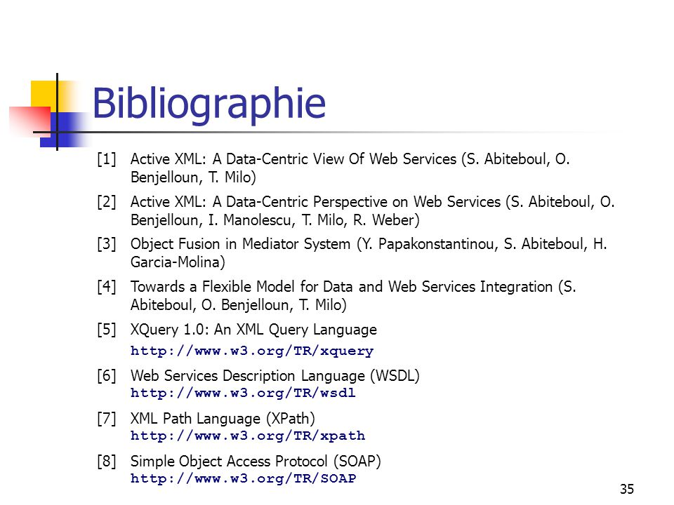 35 Bibliographie [1]Active XML: A Data-Centric View Of Web Services (S.