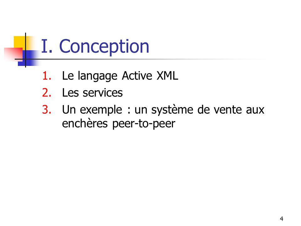 4 I. Conception 1.Le langage Active XML 2.Les services 3.Un exemple : un système de vente aux enchères peer-to-peer