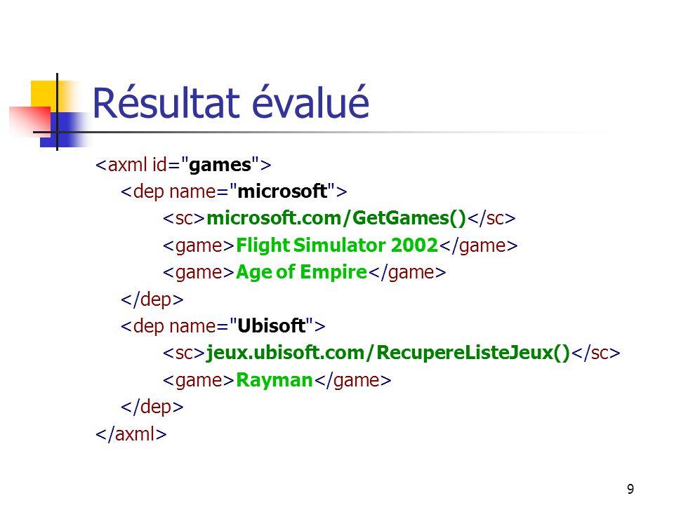 9 Résultat évalué microsoft.com/GetGames() Flight Simulator 2002 Age of Empire jeux.ubisoft.com/RecupereListeJeux() Rayman