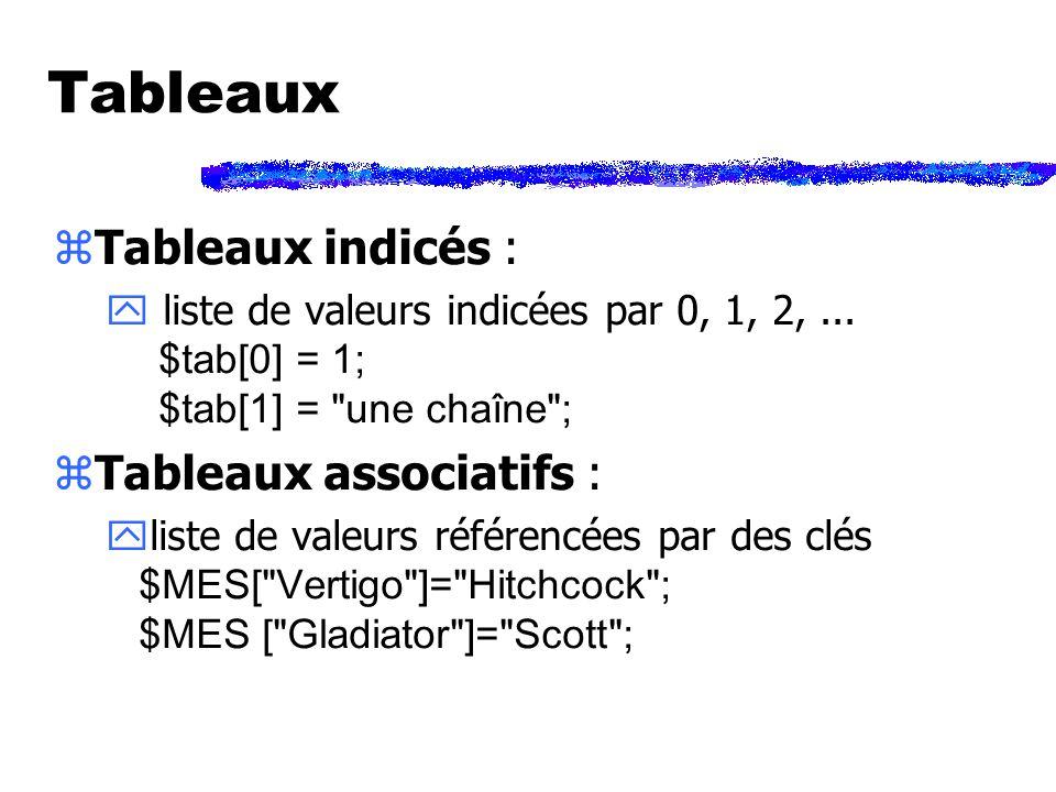 Tableaux zTableaux indicés : liste de valeurs indicées par 0, 1, 2,...