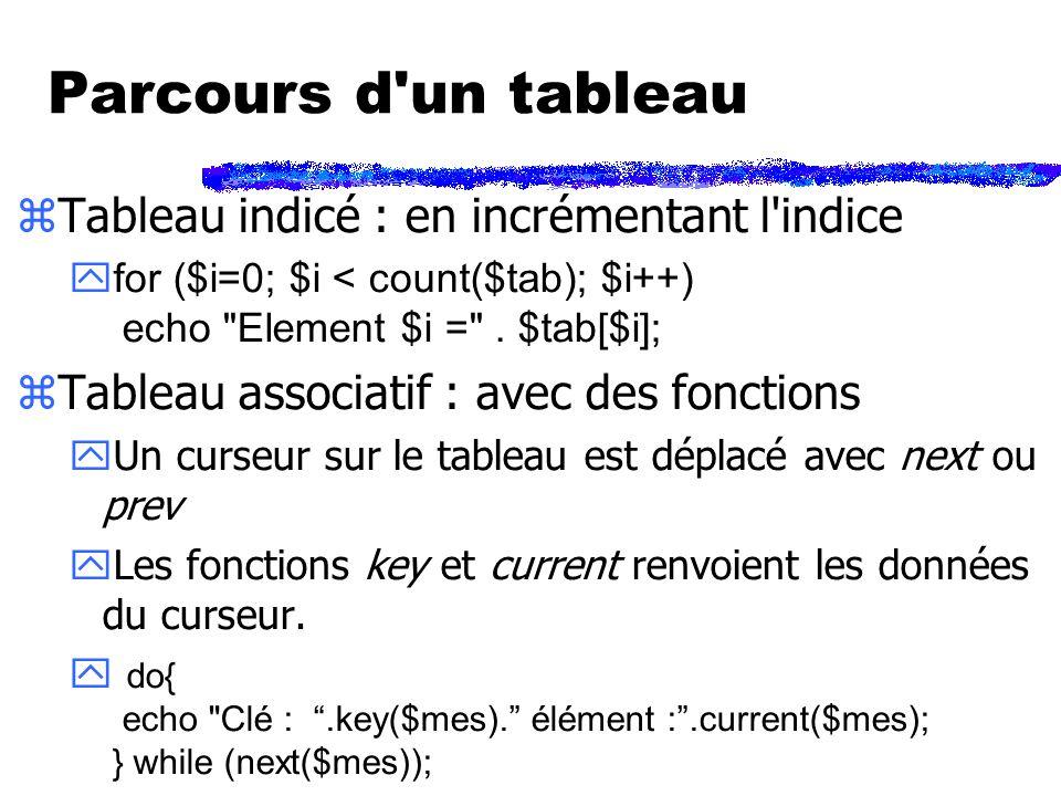 Parcours d un tableau zTableau indicé : en incrémentant l indice for ($i=0; $i < count($tab); $i++) echo Element $i = .
