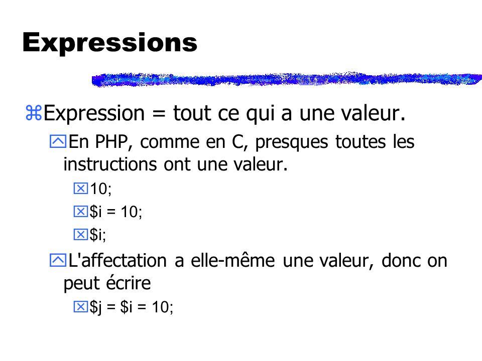 Expressions zExpression = tout ce qui a une valeur.