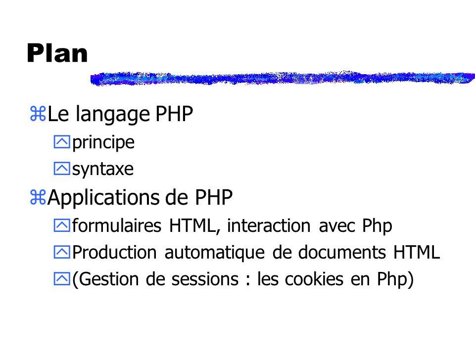 Exemple (1/2) : doc.php <?php Session_start(); $derniereVisite=date(h:i:s); session_register(toto); ?> Une visite de cette page ->mémorisation de $toto dans le navigateur