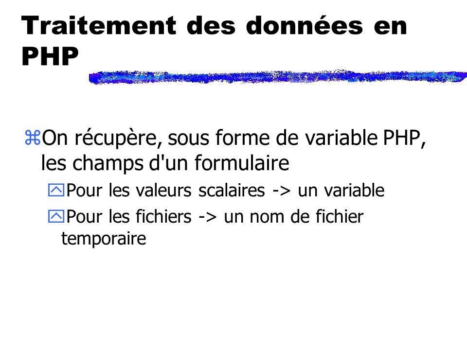 Traitement des données en PHP zOn récupère, sous forme de variable PHP, les champs d un formulaire yPour les valeurs scalaires -> un variable yPour les fichiers -> un nom de fichier temporaire