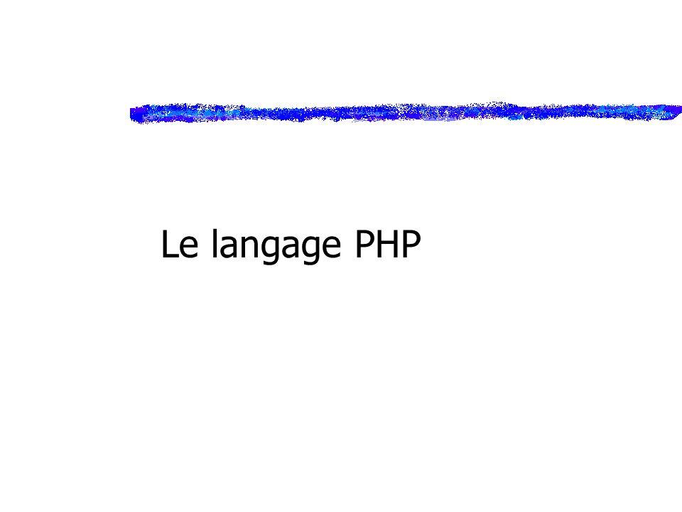 Conclusion zPHP : ylangage puissant, très bien intégré à HTML yde très nombreuses fonctions ygratuit zPermet : yla gestion des formulaires yla gestion des utilisateurs du site (session) yet prochainement…bases de données !