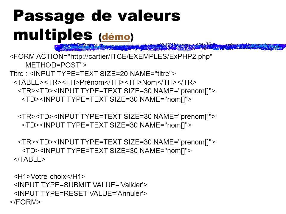Passage de valeurs multiples (démo)démo <FORM ACTION= http://cartier/ITCE/EXEMPLES/ExPHP2.php METHOD=POST > Titre : Prénom Nom Votre choix