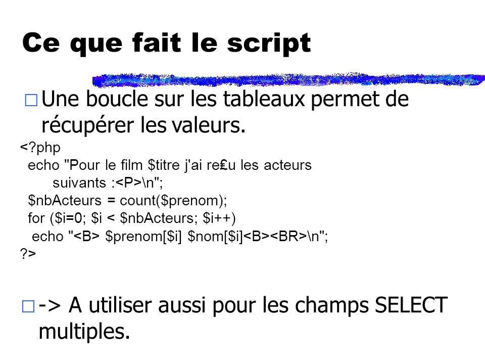 Ce que fait le script < php echo Pour le film $titre j ai reu les acteurs suivants : \n ; $nbActeurs = count($prenom); for ($i=0; $i < $nbActeurs; $i++) echo $prenom[$i] $nom[$i] \n ; >  Une boucle sur les tableaux permet de récupérer les valeurs.