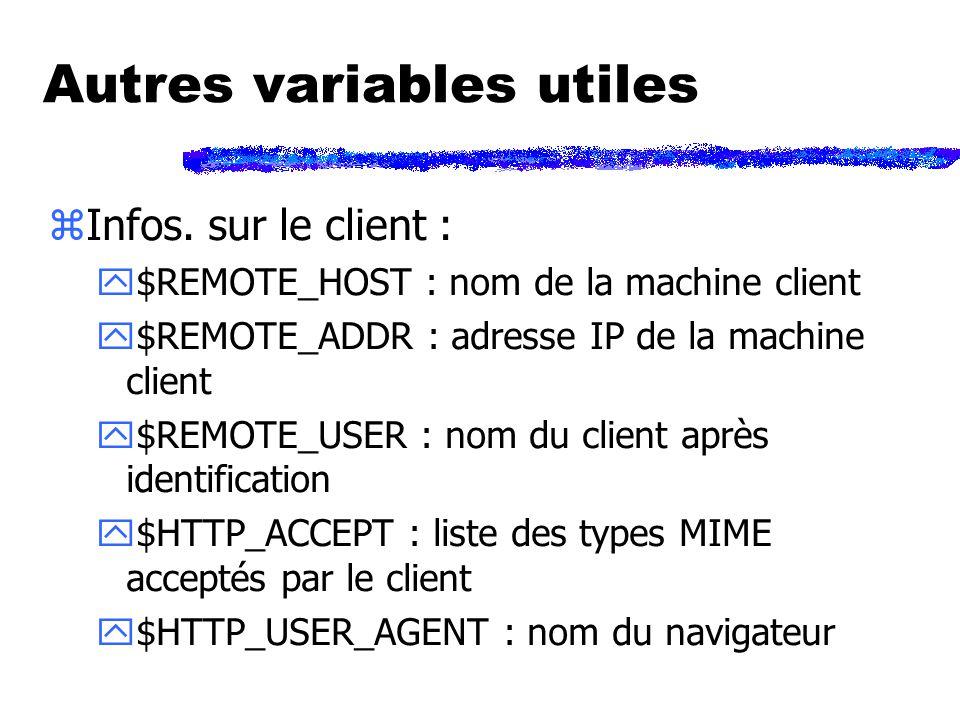 Autres variables utiles zInfos.