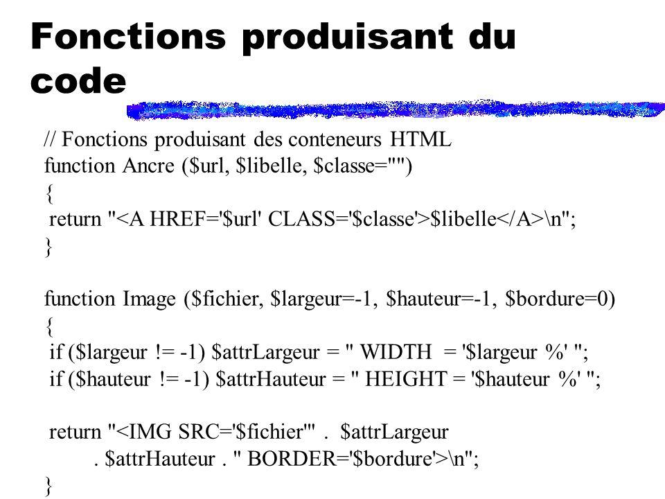 Fonctions produisant du code // Fonctions produisant des conteneurs HTML function Ancre ($url, $libelle, $classe= ) { return $libelle \n ; } function Image ($fichier, $largeur=-1, $hauteur=-1, $bordure=0) { if ($largeur != -1) $attrLargeur = WIDTH = $largeur % ; if ($hauteur != -1) $attrHauteur = HEIGHT = $hauteur % ; return <IMG SRC= $fichier .