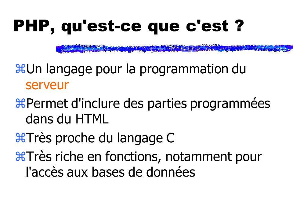 Petit exemple PHP : toto.php Bonjour Quelle heure est-il ? Il est exactement