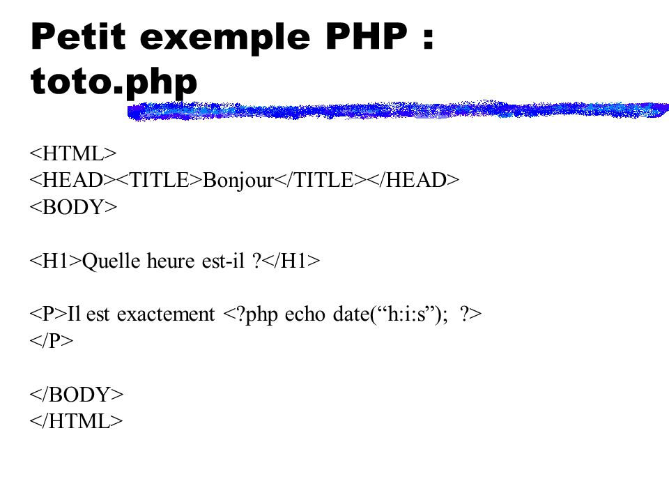 Comment ça marche Navigateur Programme serveur Interprêteur PHP Exécution des instructions PHP machine serveur Requête HTTP : toto.php Document HTML Fichier toto.php HTML/PHP