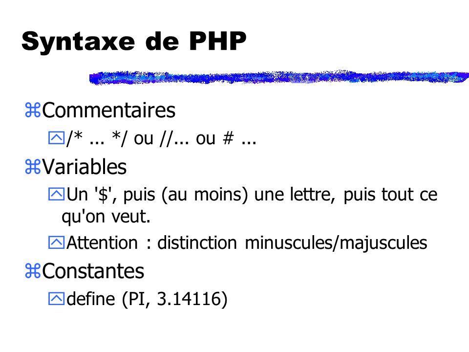Exemple zFaire un lien sur une image : <?php echo Ancre(http://www.truc.org/maison.html, Image( maison.gif )); ?> zProduit :