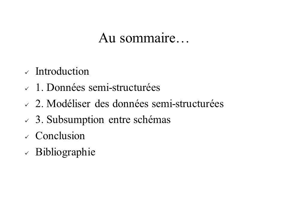 Au sommaire… Introduction 1. Données semi-structurées 2. Modéliser des données semi-structurées 3. Subsumption entre schémas Conclusion Bibliographie