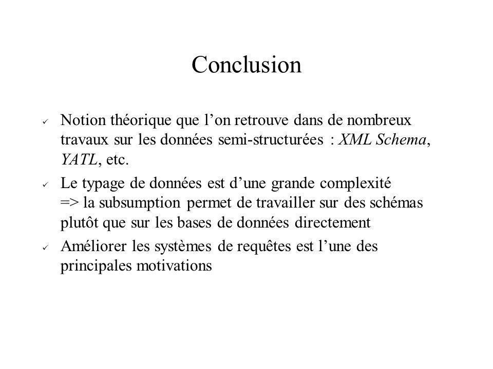 Conclusion Notion théorique que lon retrouve dans de nombreux travaux sur les données semi-structurées : XML Schema, YATL, etc. Le typage de données e