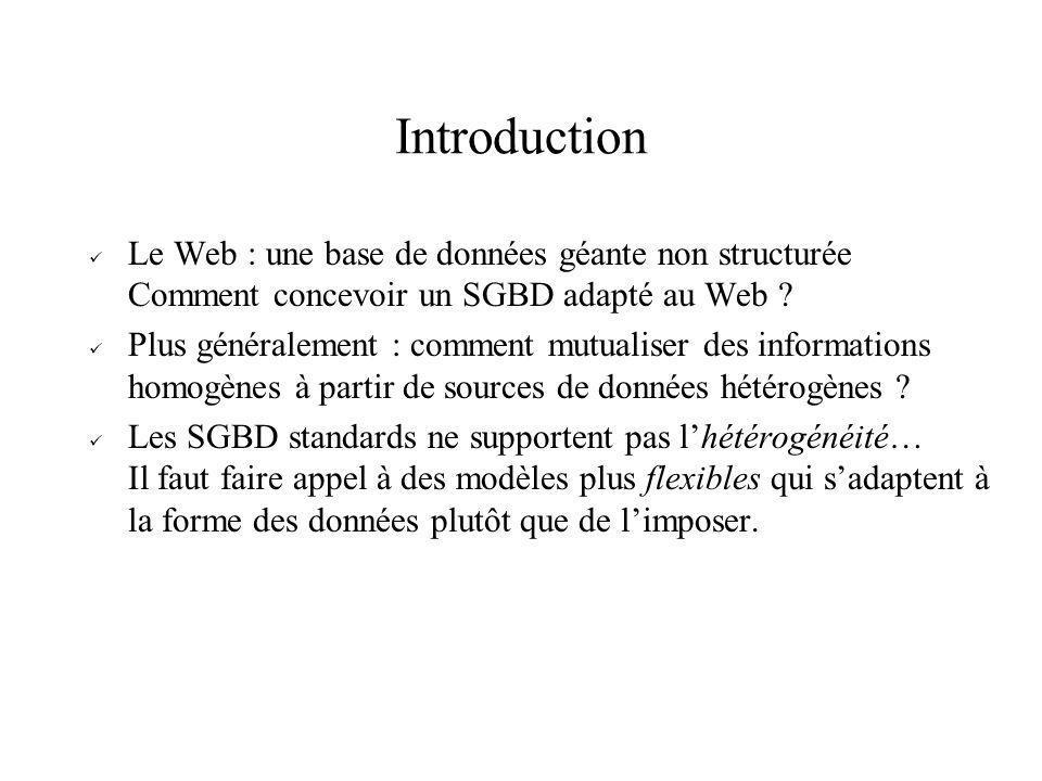 Introduction Le Web : une base de données géante non structurée Comment concevoir un SGBD adapté au Web ? Plus généralement : comment mutualiser des i
