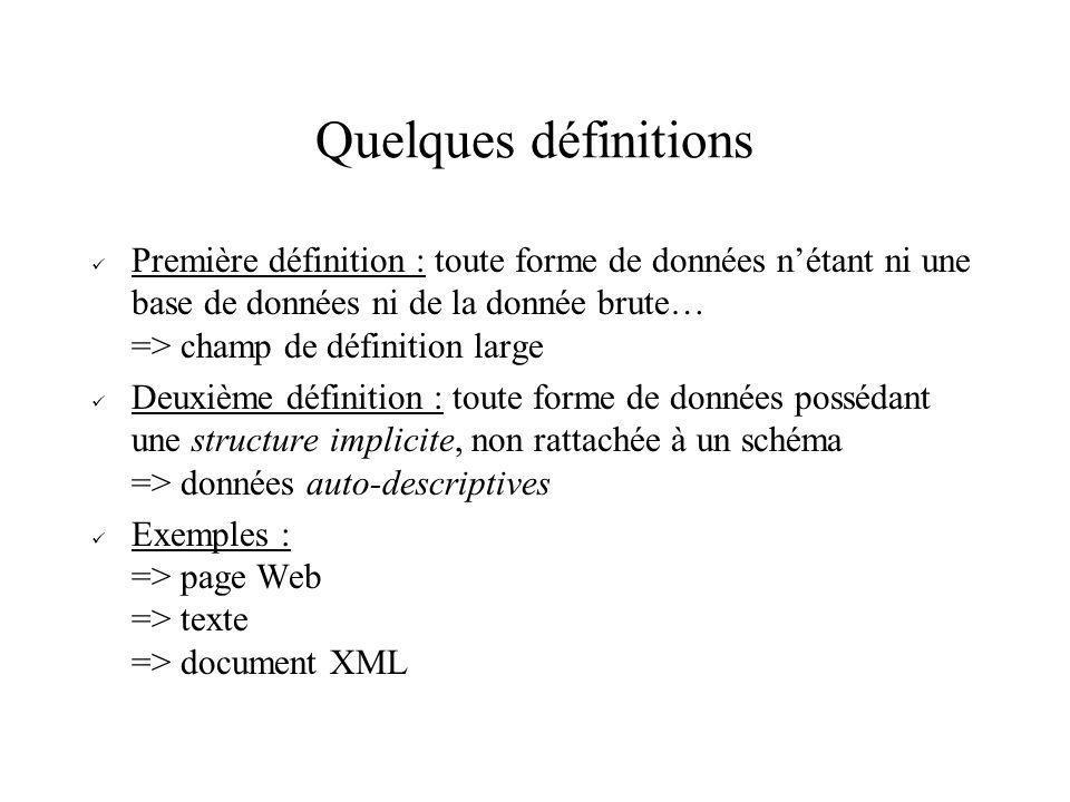 Quelques définitions Première définition : toute forme de données nétant ni une base de données ni de la donnée brute… => champ de définition large De